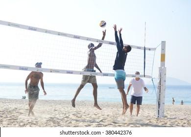 Rio de Janeiro, Brazil, February 20, 2016- beach volleyball, on Ipanema beach