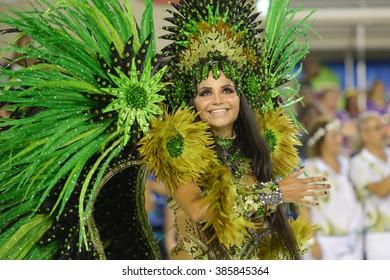 RIO DE JANEIRO, Brazil - february 05, 2016: Samba school parade Rocinha during the 2016 carnival in Rio de Janeiro, the Sambodromo. Floor highlight