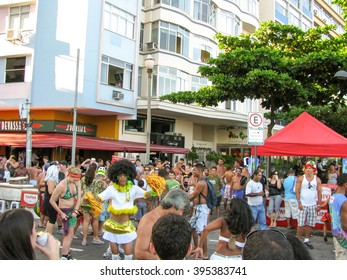 Rio de Janeiro, Brazil - February 22: local people and tourists all around the world are being entertained by street entertainers the day before Carnival on February 22, 2009