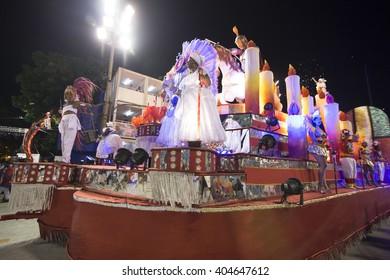 RIO DE JANEIRO, Brazil - february 05, 2016: Samba school parade Alegria da Zona Sul during the 2016 carnival in Rio de Janeiro, the Sambodromo. Float
