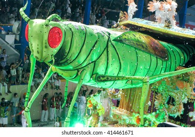 Rio de Janeiro, Brazil - February 23: amazing extravaganza during the annual Carnival in Rio de Janeiro on February 23, 2009 - giant figure of grasshopper