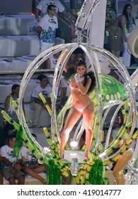Rio de Janeiro, Brazil - February 23: amazing extravaganza during the annual Carnival in Rio de Janeiro on February 23, 2009 - semi naked female dancer