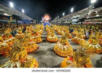 RIO DE JANEIRO, Brazil - february 07, 2016: Samba school parade Ilha do Governador during the 2016 carnival in Rio de Janeiro, the Sambodromo.