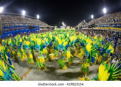 RIO DE JANEIRO, Brazil - february 08, 2016: Samba school parade Unidos de Padre Miguel during the 2016 carnival in Rio de Janeiro, the Sambodromo.