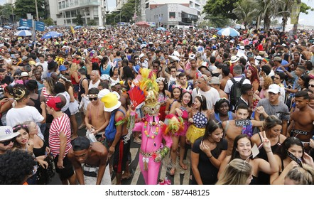 Rio de Janeiro Brazil  February 25, 2017  Thousands of revelers perform following the carnival's band of Ipanema along the beach.