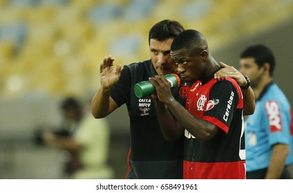 Rio de Janeiro, Brazil- February 20, 2017- Brazilian soccer player Vinicius Junior of Flamengo receives instructions from the coach during a match. Vinicius will play for spaniard team Real Madrid.