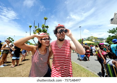 Rio de Janeiro, Brazil - February 27, 2017: Colorful costumed participants enjoy the traditional block known as Sergeant Pepper.