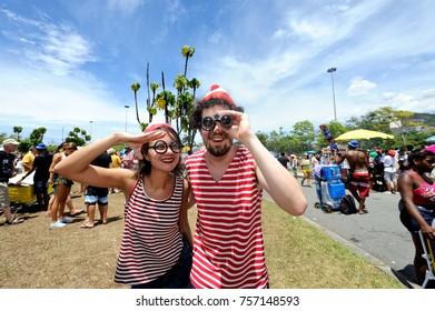 Rio de Janeiro, Brazil - February 27, 2017: Costumed participants enjoy the traditional block known as Sergeant Pepper.