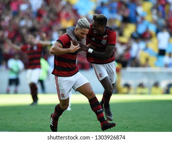 Rio de Janeiro, Brazil, Februery  03 2019. Football player, Diego Ribas of the Flamengo team, during the Flamengo vs. Cabofriense match for the Carioca championship at the Maracanã stadium