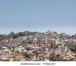 "Rio de Janeiro, Brazil hillside shantytown also known as a ""favela"". Brazil is notorious for vast inequality between different social classes"