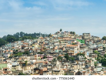 """Rio de Janeiro, Brazil hillside shantytown also known as a """"favela"""". Brazil is notorious for vast inequality between different social classes"""