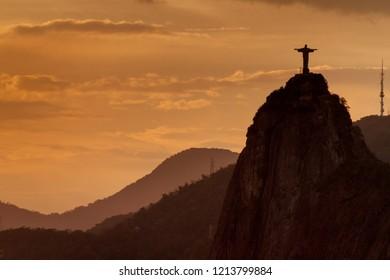 RIO DE JANEIRO, BRAZIL - JAN 28, 2015: Silhouette of Christ the Reedemer statue, Corcovado, Rio de Janeiro, Brazil