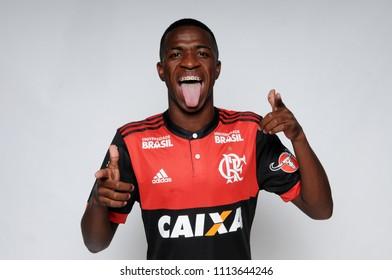 Rio de Janeiro, Brazil, January 30, 2018 Flamengo player Vinícius Júnior during a half day before the press conference at the Flamengo club in the city of Rio de Janeiro.