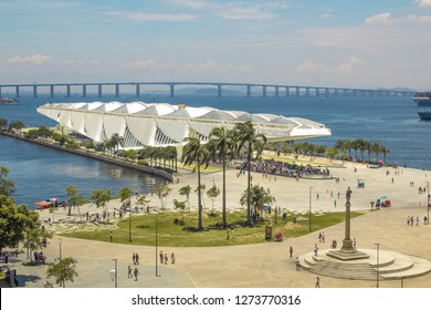Rio de Janeiro, Brazil - January 02, 2019: View of The Museum of Tomorrow (also known as Museu do Amanhã), from the Rio Musuem of Art (MAR) viewpoint.