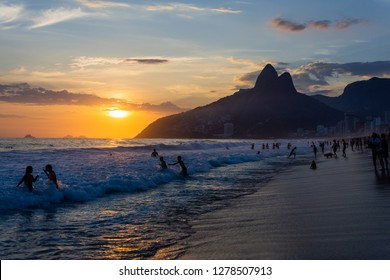 Rio de Janeiro, Brazil - January 6, 2019: Amazing summer sunset at Ipanema beach, Rio de Janeiro, Brazil.