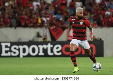 Rio de Janeiro, Brazil, January 29, 2019. Football player Gabigol of the Flamengo team during the Flamengo vs. Boavista match for the Carioca championship at the Maracanã stadium.