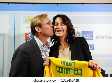 Rio de Janeiro, Brazil, January 21, 2010. Former Olympic gymnastics athletes, Nadia Comaneci and her husband, Bart Conner, are honored during the opening of the 5th Student Gymnastics Games at Maracan