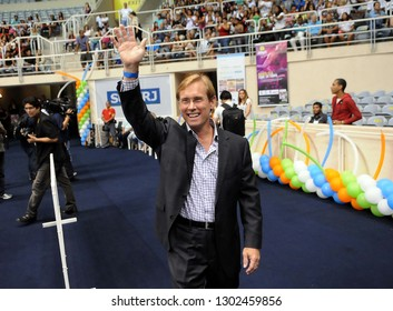 Rio de Janeiro, Brazil, January 21, 2010. Former Olympic gymnastics athlete, Bart Conner, is honored, during the opening of the 5th Student Gymnastics Games in Maracanãzinho