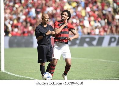Rio de Janeiro, Brazil, January 29, 2019. Football player, Willian Arão of the Flamengo team, during the Flamengo vs. Cabofriense match for the Carioca championship at the Maracanã stadium