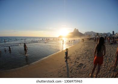 Rio de Janeiro - Brazil, January 10, 2019 Ipanema beach in the summer of the city of Rio de Janeiro