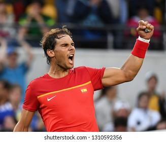 Rio de Janeiro - Brazil, January 10, 2018, Rafael Nadal playing tennis at Rio Open, in the city of Rio de Janeiro