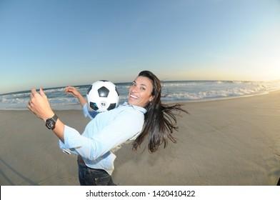 Rio de Janeiro - Brazil, January 10, 2018, Brazilian soccer team player Marta Vieira da Silva, at the beach of Barra da Tijuca in Rio de Janeiro