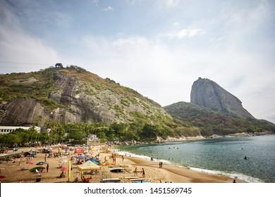 Rio de Janeiro, Brazil - January 15, 2015 - Praia Vermelha's view with Sugarloaf