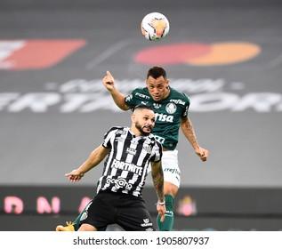 RIO DE JANEIRO- Brazil, January 30, 2021final game of the liberadores de americas cup, between the Palmeiras and Santos teams, at the Maracaña Palmeiras stadium is the champion of the Libertadores