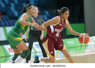 RIO DE JANEIRO, BRAZIL - january 15, 2015:  Endrina Bolivar in the match Brazil vs Venezuela for Basketball Test Event Female part of Rio2016 test events in the Olympic Park Arena 1
