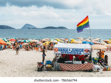 Rio de Janeiro, Brazil - January 3rd, 2018: Posto 8 on Ipanema beach is a section where members of the LGBT community gather