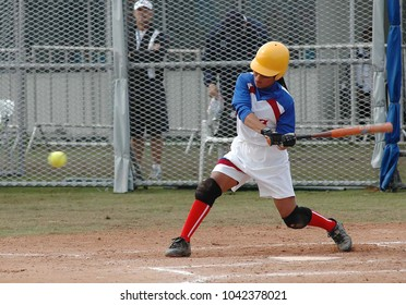 Rio de Janeiro, Brazil, July 25, 2007. Softball players from Cuba during the game Cuba vs USA by the Pan American at the Deodoro Sports Complex in the city of Rio de Janeiro