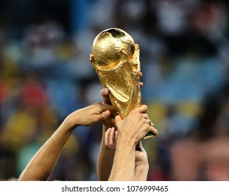 RIO DE JANEIRO, BRAZIL - July 13, 2014: The World Cup Trophy during the celebrations after the 2014 World Cup final game between Germany and Argentina at Maracana Stadium