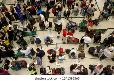 Rio de Janeiro, Brazil  July 24th,2018  Passangers waits in  line at the Santos Dummont domestic airport in Rio de Janeiro.