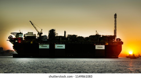 RIO DE JANEIRO, Brazil   July 18th, 2018  -  Petrobras oil platform P67 (R) is seen at the Guanabara bay in front of the Sugar Loaf hill for tests beforte operate at the Santos pre- salt oil field.