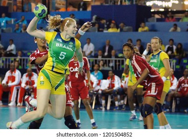 Rio de Janeiro, Brazil, July 22, 2007. Player of the Brazilian handball team, during the game between Brazil and Cuba by the Pan American in Riocentro.