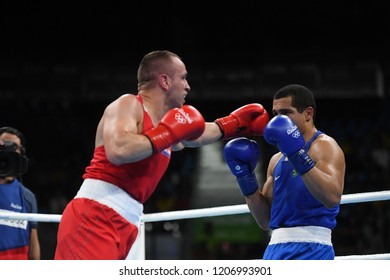 Rio de Janeiro - Brazil, July 10, 2016, boxing match between Brazil and Russia at the 2016 Olympic Games in Rio de Janeiro, photos with low speed effect