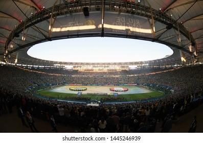 Rio de Janeiro, Brazil, July 7, 2019. Maracanã Stadium during the opening of the 2019 America Cup final.