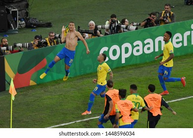Rio de Janeiro, Brazil, July 7, 2019. Brazil' Richarlison soccer player celebrates his goal during the Brazil vs Peru game for the Copa America 2019 at Maracanã Stadium