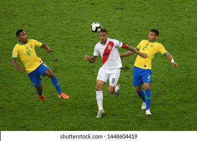 Rio de Janeiro, Brazil, July 7, 2019. Peruvian soccer player Paolo Guerrero during the Brazil vs Peru game for the Copa America 2019 at the Maracanã stadium