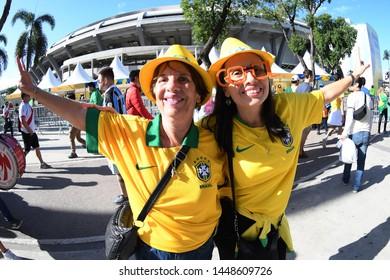 Rio de Janeiro, Brazil, July 7, 2019. Brazilian soccer fans before the Brazil vs Peru game for the Copa America 2019 at the Maracanã stadium
