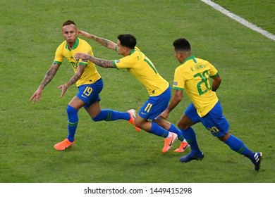 Rio de Janeiro, Brazil, July 7, 2019. Soccer player Everton of the Brazil national team celebrates his goal during the game Brazil vs Peru for Copa America 2019 in the stadium of the Maracanã