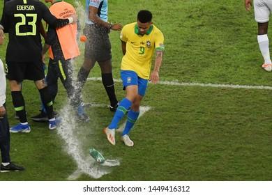 Rio de Janeiro, Brazil, July 7, 2019. Soccer player Gabriel Jesus of the Brazil team during the game Brazil vs Peru for the Copa América 2019 in the stadium of Maracanã