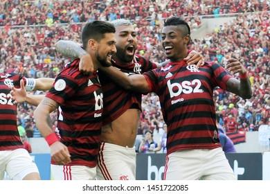 Rio de Janeiro, Brazil, July 14, 2019 Football player Gabriel Gabigol of the Flamengo team celebrates his goal during the Flamengo vs. Goiás game for the Brazilian Championship at the Maracanã stadium