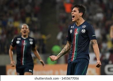 Rio de Janeiro, Brazil, July 15, 2019. Football player Pedro of the Fluminense team, celebrates his goal during the game Fluminense vs Ceará by the Brazilian Championship in Maracanã stadium.