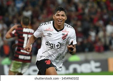 Rio de Janeiro, Brazil, July 17, 2019. Football player Rony Athlético-PR, celebrates his goal during the game Flamengo vs. Atlético-PR by the Brazil Cup in the Maracanã stadium.