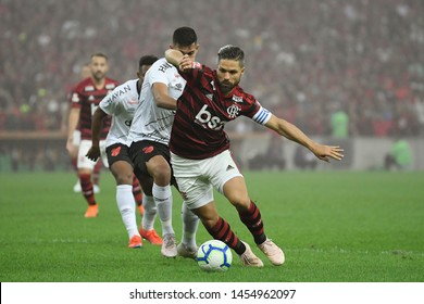 Rio de Janeiro, Brazil, July 17, 2019. Football player Diego of the Flamengo team, during the game Flamengo vs. Atlético-PR by the Brazil Cup at the Maracanã stadium.
