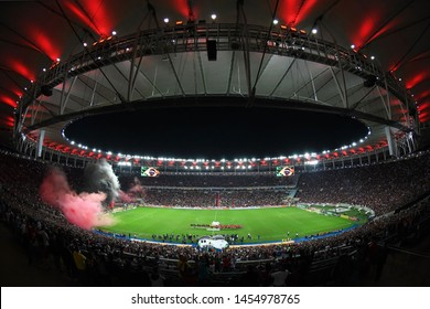Rio de Janeiro, Brazil, July 17, 2019. Stadium of Maracanã full of Flamengo fans before Flamengo vs. Athlético-PR, for the Brazil Cup.