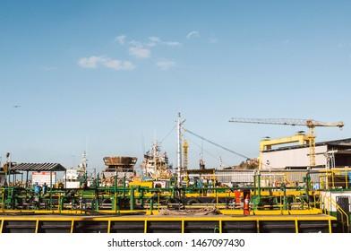 Rio de janeiro - Brazil, July 29, 2019: evening of Small shipyard at Guanabara Bay.
