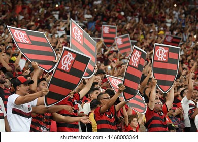 Rio de Janeiro, Brazil, July 31, 2019. Flamengo football supporters during Flamengo x Emelec match at Maracanã stadium.