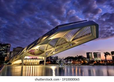 RIO DE JANEIRO, BRAZIL – JULY 9, 2019: Museum of Tomorrow, (Museu do Amanha), designed by Spanish architect, Snatiago Calatrava, Rio de Janeiro, Brazil